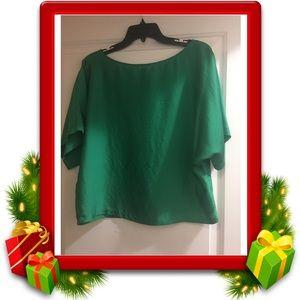Express Satin Green Top Size SP